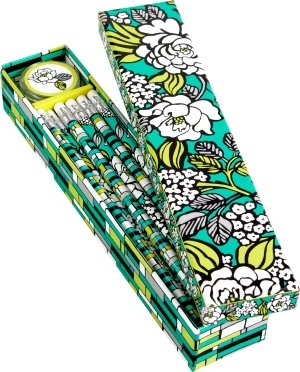 Vera Bradley Island Blooms Pencil Box - 10 Pencils and Sharpener