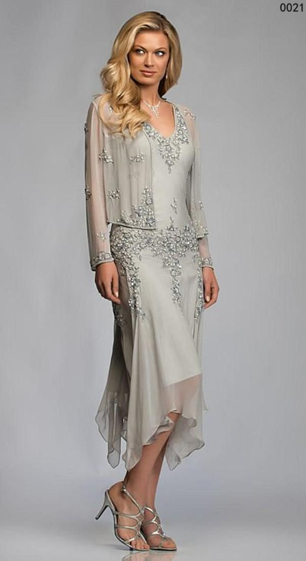 Tea Length Chiffon Beaded Mother of the Bride Dresses With Long Sleeves Jacket Lace Appliques Sequins Chiffon Mother's Formal Dresses