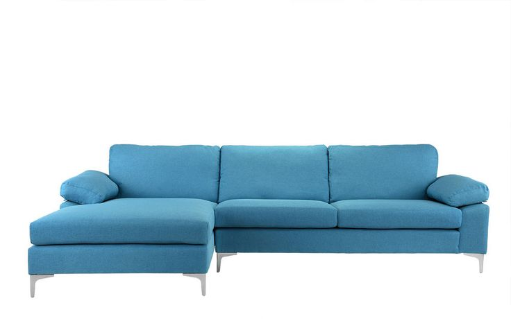 Contemporary Linen Fabric Sectional Sofa L-Shape Couch, Extra Wide Chaise, Blue | Home & Garden, Furniture, Sofas, Loveseats & Chaises | eBay!