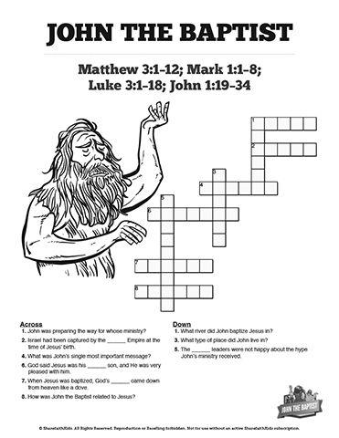 John the baptist sunday school crossword puzzles jesus for John the baptist craft for kids
