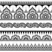 Mehndi, indische Henna tattoo nahtlose Muster, Design-Elemente — Stockvektor