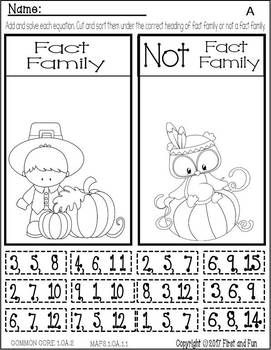 THANKSGIVING NO PREP FACT FAMILY NUMBER BOND WORKSHEET WORKSHEET-COMMON-CORE-MAFS-3466653 Common Core MAFS 50% off for 2 days only! Just hit the print button. Great fact family worksheet bundle for all your student's levels. This Math Pack Worksheets Pack supplements any First Grade MATH series.COMMON CORE MAFS
