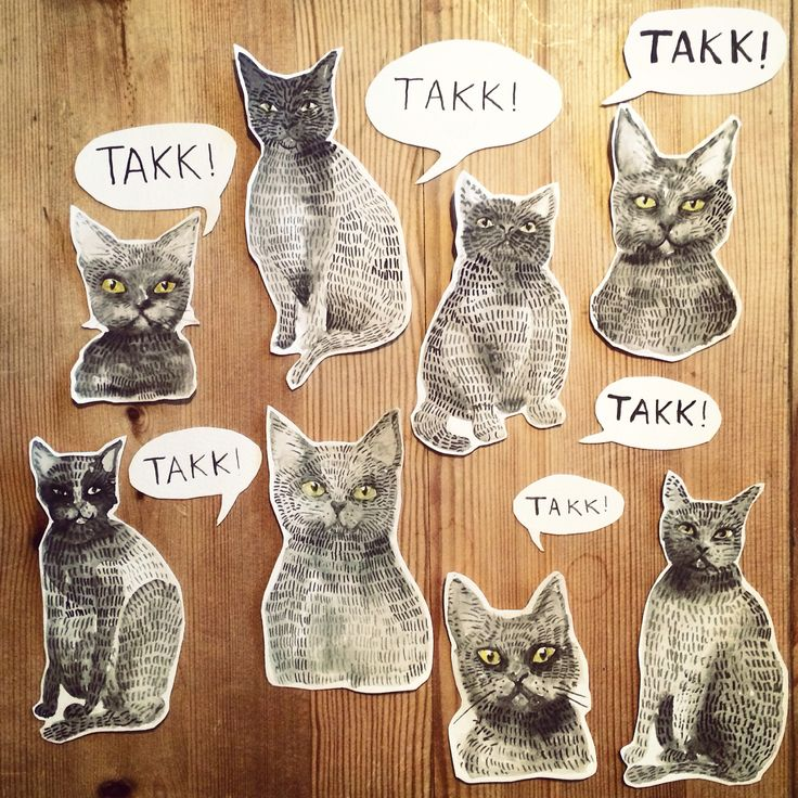 Watercolour cats - Ingjerd Tufto