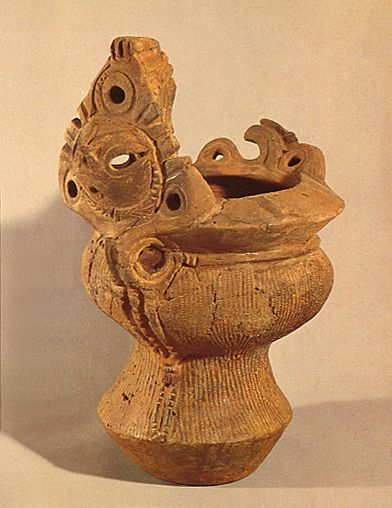 Deep clay pot. Jomon period. Excavation place / Nagano Japan.   BC.3,500 - BC.2,500.