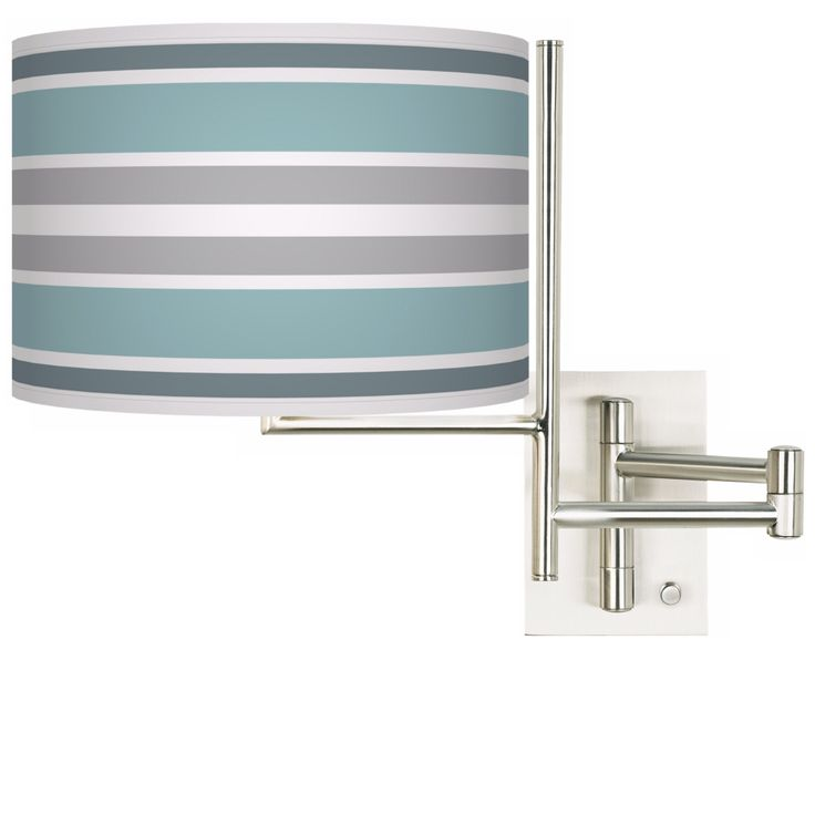Multi Color Stripes Brushed Steel Plug-in Swing Arm Wall Lamp - Style # K1148-X4245