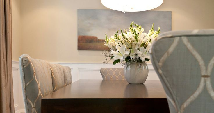 Fia Interiors Custom Dining Chairs. Table by Cabinet Furniture.