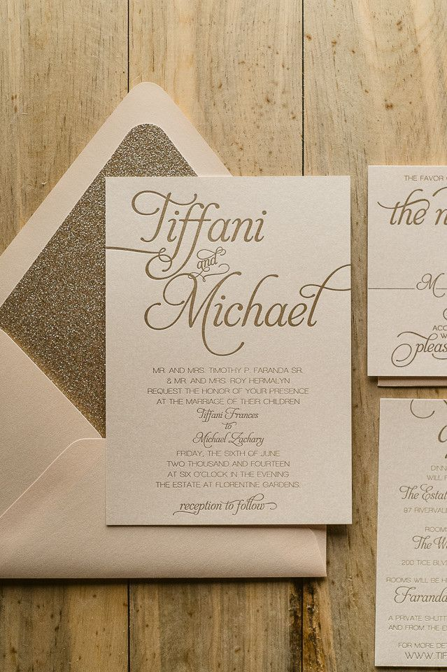 wedding shower invitations omaha%0A NICOLE Suite Glitter Package  blush and gold  letterpress wedding  invitations u