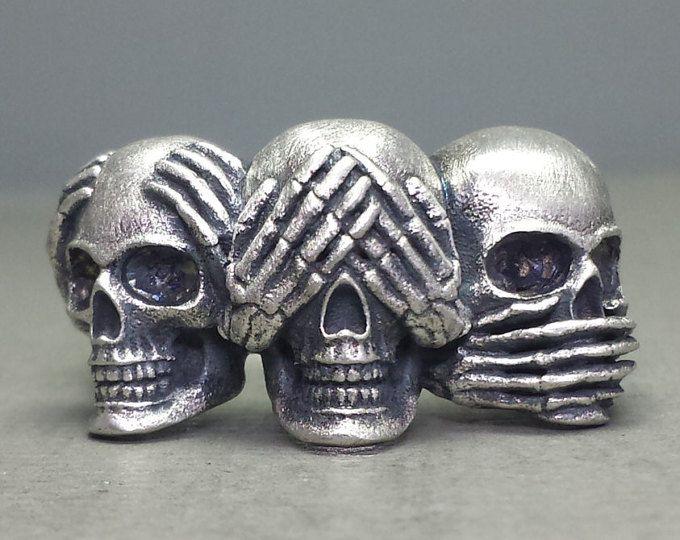 Hear No Evil, See No Evil, Speak No Evil Sterling Silver Skull Ring
