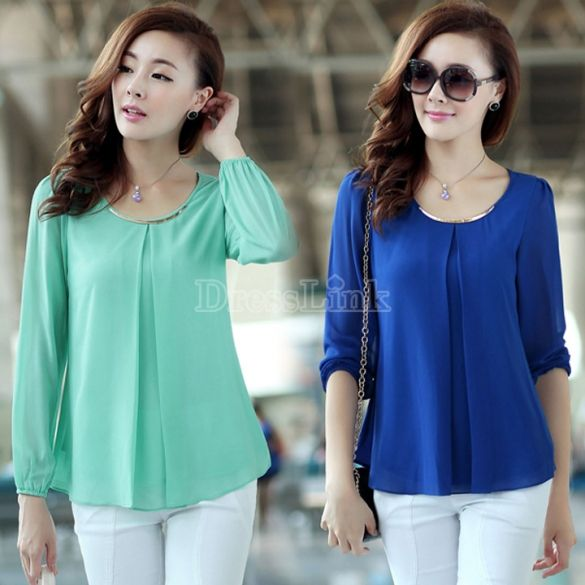 Women's Tops Long Sleeve Casual Chiffon Pleated Shirt Career Blouse