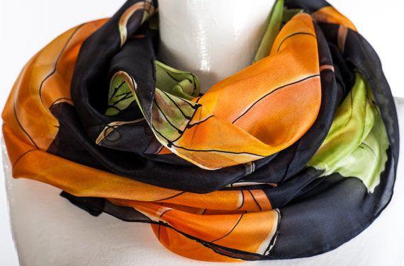 Hand Painted  Silk Scarf Pumpkin Black Brown by KallenSilkScarves