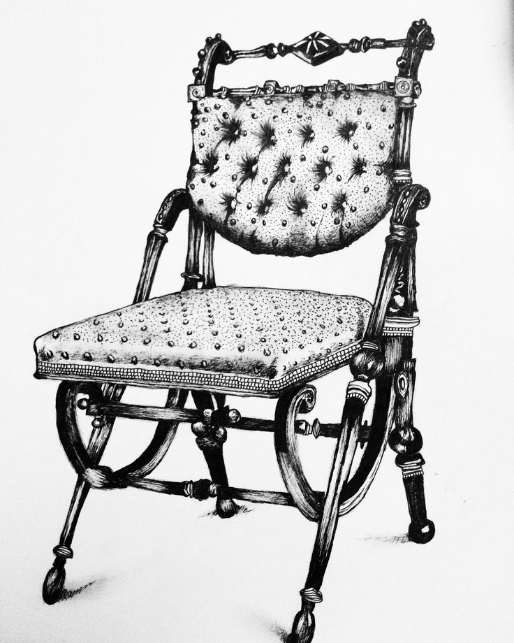 Drawing (pen) of an antique  chair. (Molly Burnip) drawn from: http://pin.it/1Fox2GX http://mollymayburnip.wixsite.com/mollyburnipart #drawing #illustration #art