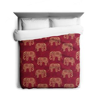 Shop for Henna Elephants, Elephant Duvet Cover, Printed in USA. Get free delivery at Overstock.com - Your Online Bedding