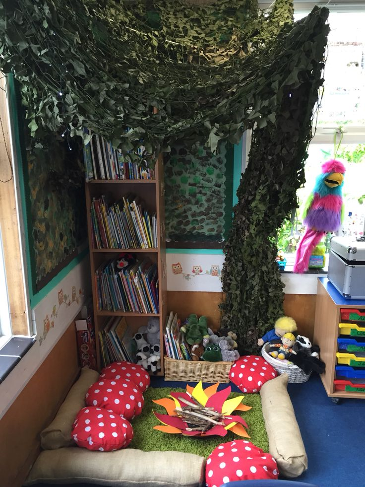 Woodland reading area  We used the bookshelf as the trunk and hung cargo netting to create the leaves.  We bought a cheap £5 BBQ and used the base for the campfire, I stuck flames shapes to the bottom and added twigs. We bought hessian fabric and created logs and toadstools. Got the rug from Amazon for £10! Children love it!