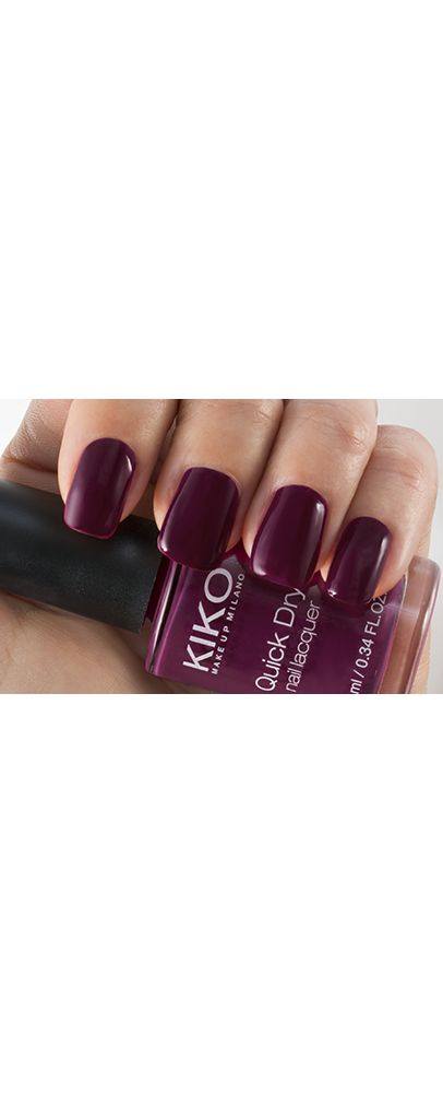 QUICK DRY NAIL LACQUER Kiko - Dahlia purple, Smoke gray, Light Taupe, Cherry Pink, Cerulean, Golden White