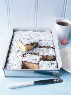 * Lamington Slice ~ vanilla sponge dipped in chocolate icing and coated in coconut. Very popular in Australia. Easy to make and tastes yummy and is perfect for Morning or Afternoon Tea.