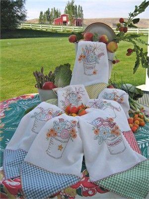 Gingham Borders On Stitched Tea Towels