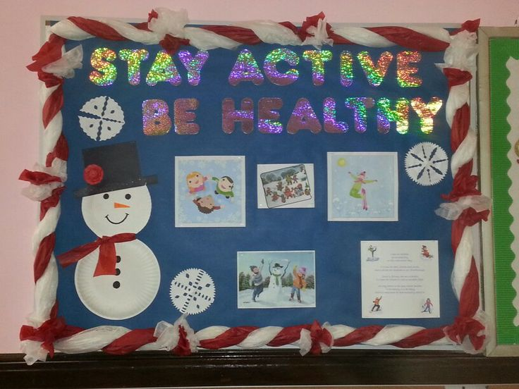 December Health Board With Candy Cane Tissue Paper Border