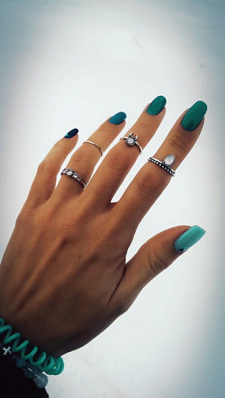 Nails green blue turqoise  rings
