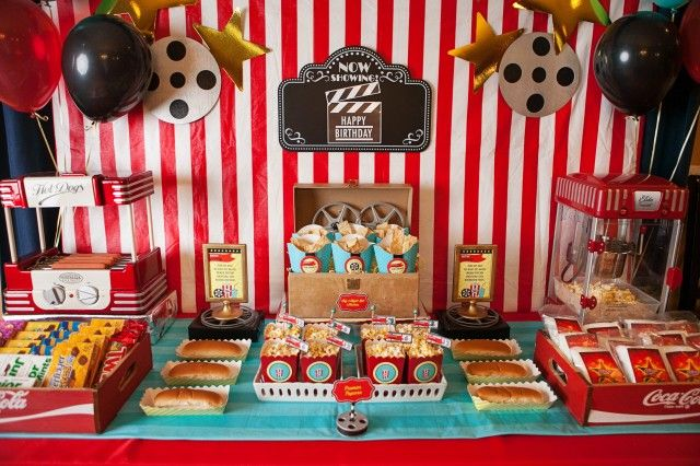 Movie Night-concession stand in the foyer . Wall, the table cloth and color theme.