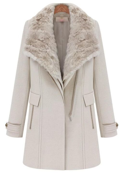 Light Pink Detachable Fur Collar Vest Wide Lapel Zipper Coat -SheIn(Sheinside)