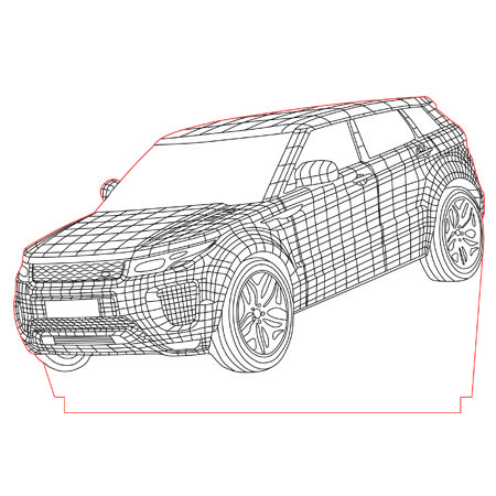 Land Rover 3d illusion vector file for CNC - 3bee-studio