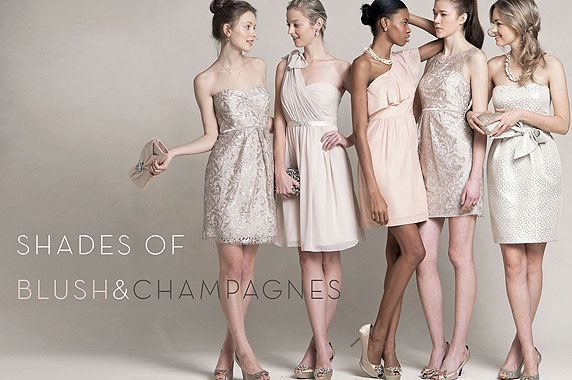 blush and champagne bridesmaid dresses available at The White Dress by the shore