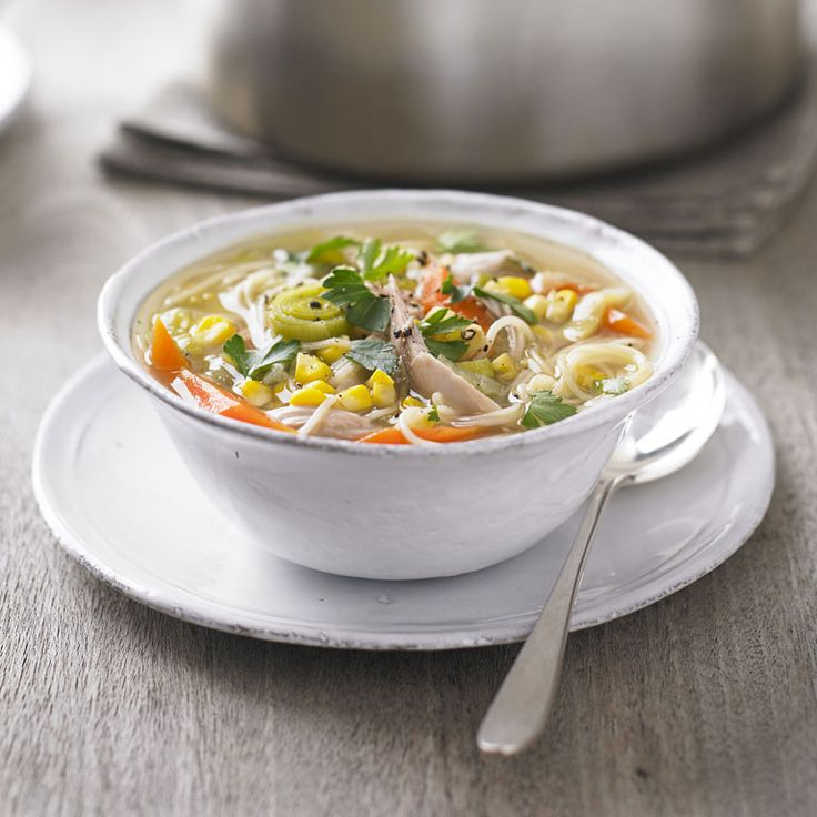 Chicken and sweetcorn noodle soup