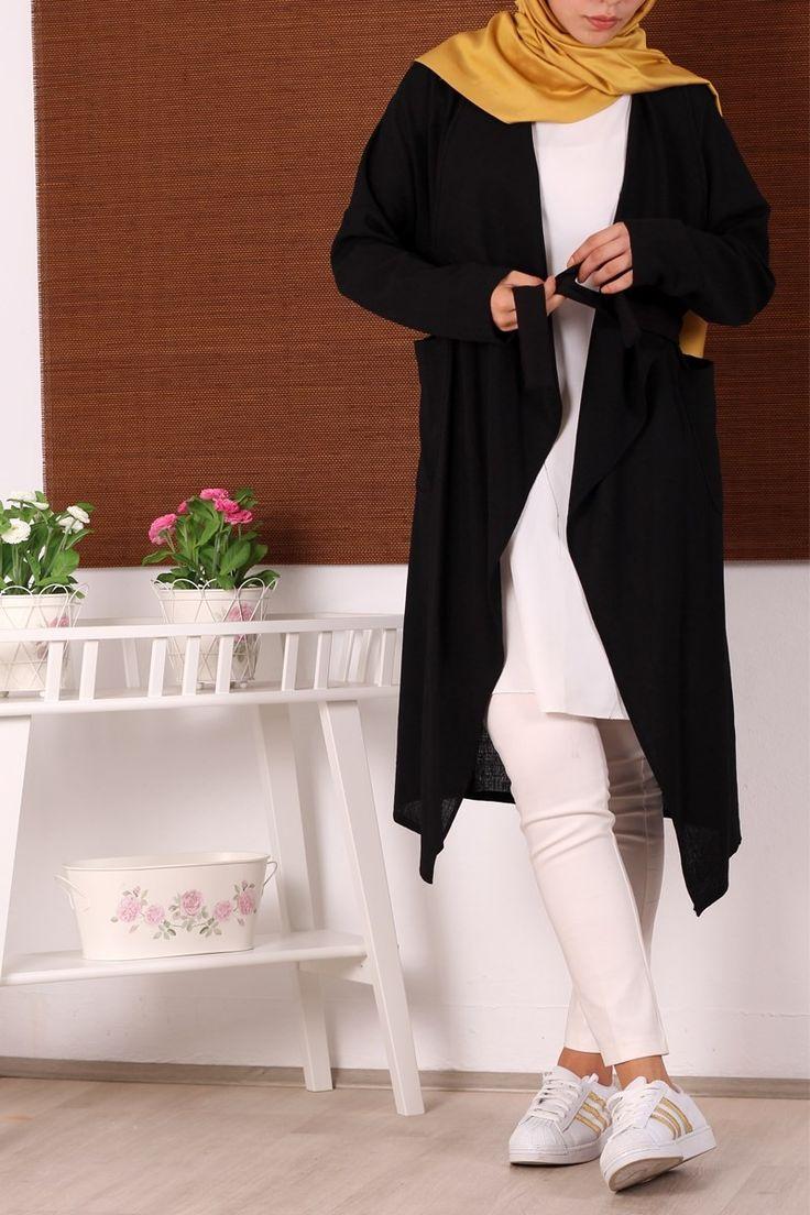 #tesettur Tesettür Ceket Kap 0542 - Siyah -  - Price: tl109.90. Buy now at http://www.hakanaydogantest.com/sal-yaka-keten-ceket-kap-siyah-misra
