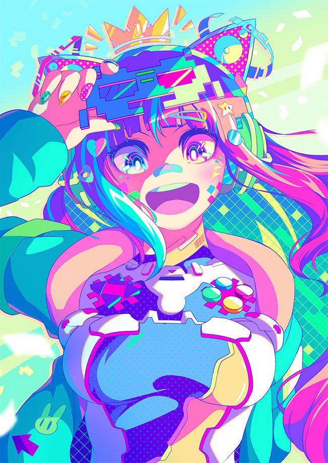 Japanese Illustrator Berryverrine Dazzles With Awesome Retrowave Kawaii Art Kawaii Art Anime Anime Art Girl