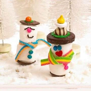 Marshmallow Snowmen  Stack two large marshmallows with a toothpick. Use tiny dots of frosting as glue to decorate the snowmen with sprinkles, chocolate chips, chocolate wafers, and other small treats. Group the snowmen on a silver platter with mini marshmallows and sugar for snow.