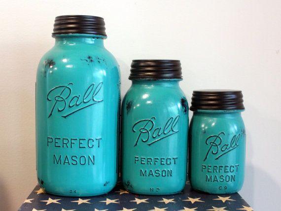 3 Piece Teal Mason Jar Canister Set Kitchen Distressed Half Gallon Quart  Pint