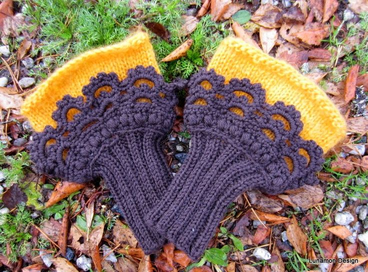 Both crochet and knitted half mittens.