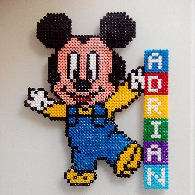 Custom baby Mickey Mouse hama beads by pixelscustom