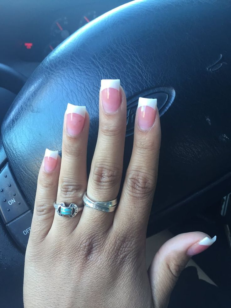 Photo of Hollywood Nails & Spa - Portland, OR, United States. Pink and white solar acrylic set done by the amazing Tina.