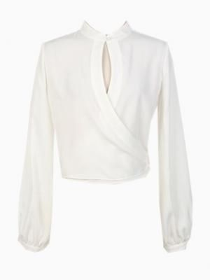 Shop White Warp Long Sleeves Crop Blouse from choies.com .Free shipping Worldwide.  cid=5255jessica