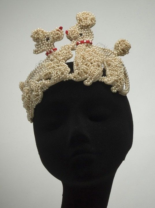 Bes-Ben 'Poodles' hat | United States, 1950's | Materials: faux pearls, felt, velvet | Indianapolis Museum of Art