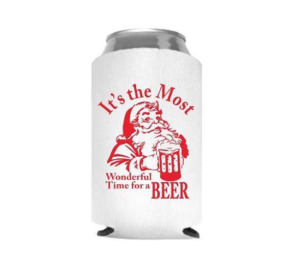 Stocking Stuffer for Men, Christmas Can Cooler, Santa Can Cooler, Christmas Beer Cozy, Holiday Can Cooler, Santa Drinks Beer, Neoprene Can