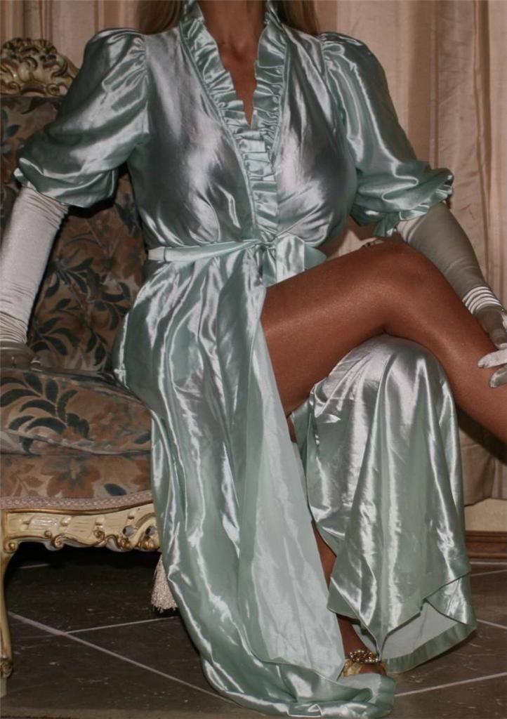 Mint Green Satin Robe White Satin Gloves And Sheer Shimmer