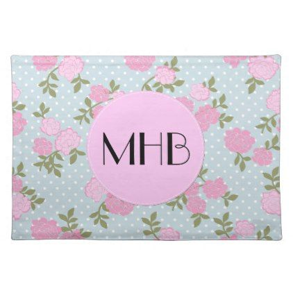 Monogram - Shabby Chic Dots Roses - Blue Pink Placemat - shabby chic unique special diy