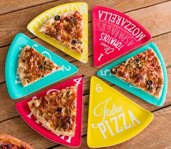 Pizza-szelet alakú, színes tányér készlet a tökéletes és stílusos...-Akciós ár:2990 Ft