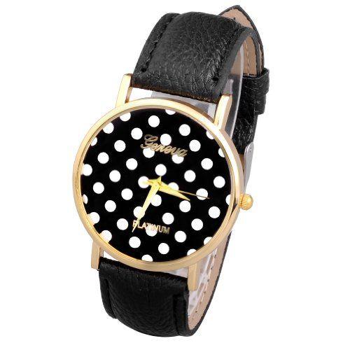 Better Dealz Damen Vintage Lässig Armbanduhr Polka Dot Zifferblatt Fashion Trend Quarzuhr Damenuhr Lederarmband Analog Uhren Schwarz