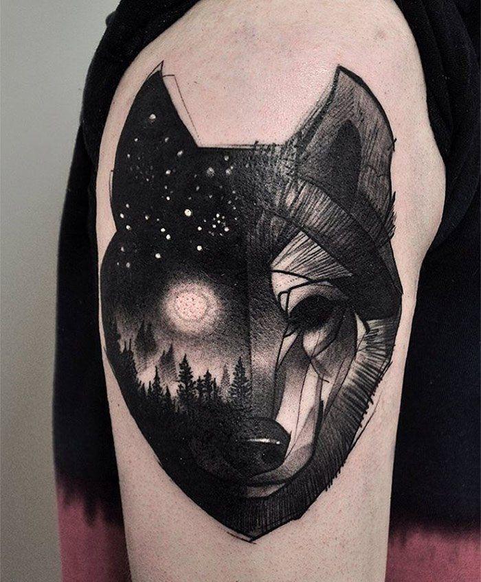 Wolf & Night Sky - tattooideas247.com/wolf-night-sky/