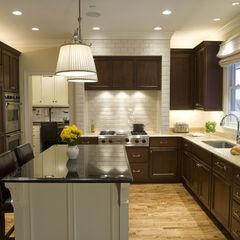 Cherry Cabinets Honey Floor Light Countertops White