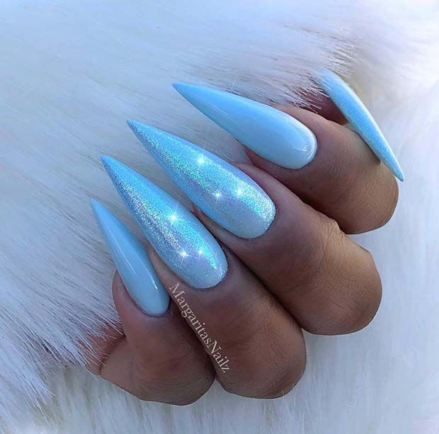 23 Stunning Ways To Wear Baby Blue Nails Stayglam Baby Blue Nails Blue Acrylic Nails Blue Nail Designs