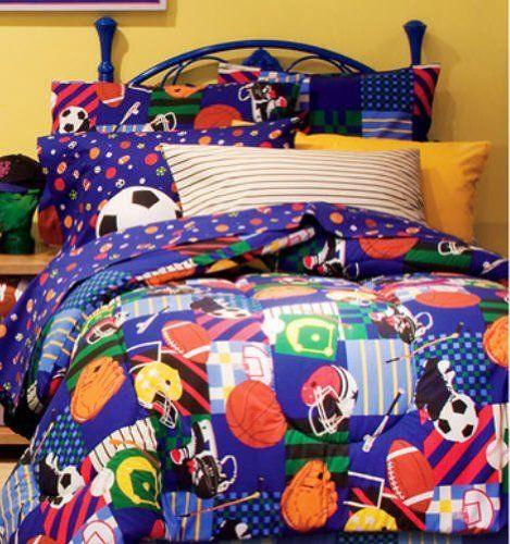 Sports Baseball Football Soccer Blue Boys Kids Twin Comforter 6 Piece Bed Bag Set By Cbearbedding