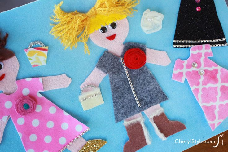 DIY felt dress up dolls and accessories with printable templates