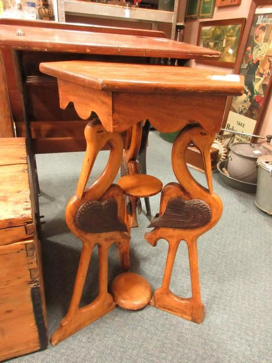 Wood Stork table. From Vendor 375. Priced at $119.00 ~ The Brass Armadillo  Antique