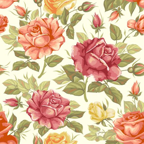 Vector seamless retro flower pattern graphic - Vector Flower free download