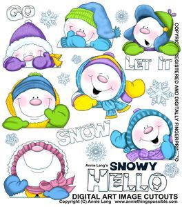 Snowy Hello Cutouts http://anniethingspossible.stores.yahoo.net/christmas.html: