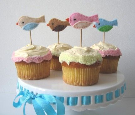 Bird themed baby shower. Maybe I should show these to my sister for my baby shower..do that instead of a cake...